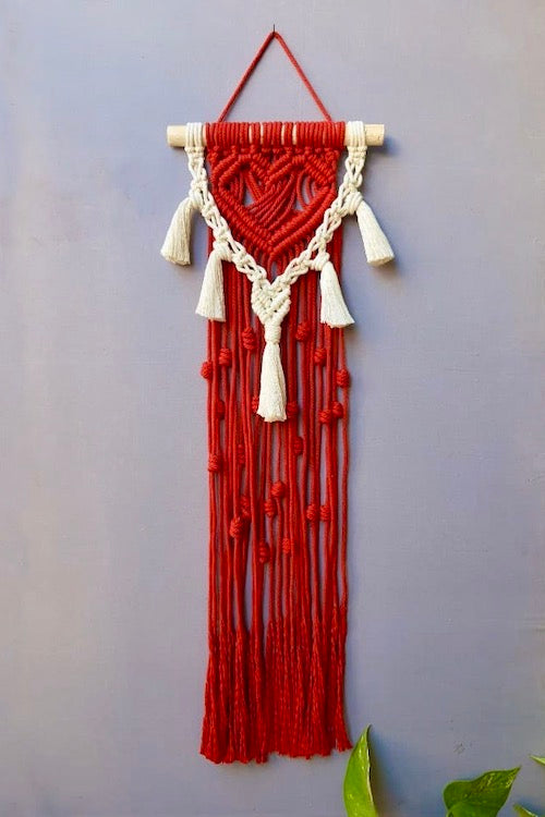 Handcrafted Macrame 'Heart-beat' Wall-Hanging