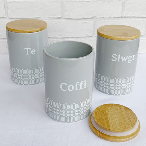 Potiau Te, Coffi a Siwgr Brethyn | Welsh Cloth Pattern Tea, Coffee & Sugar Pots