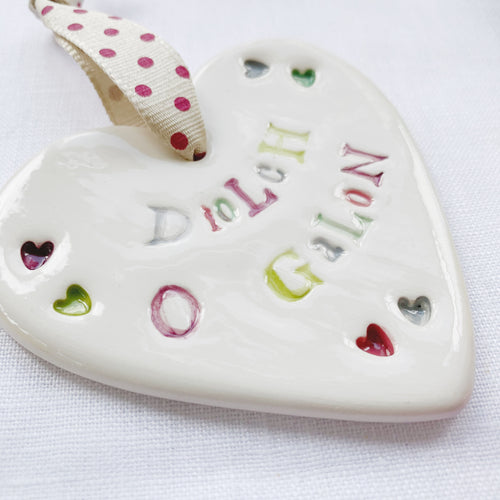 Calon Serameg - Diolch o Galon | Ceramic Heart - Thank You