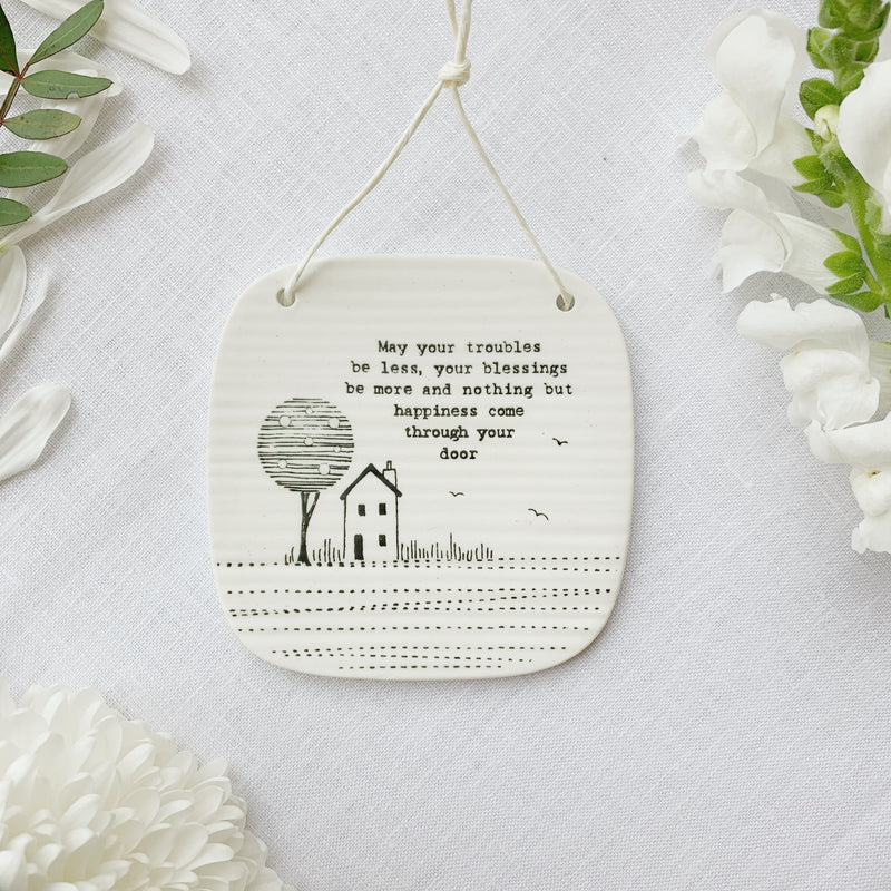 Llun Porslen | East of India Porcelain Hanging Picture – Nothing But Happiness