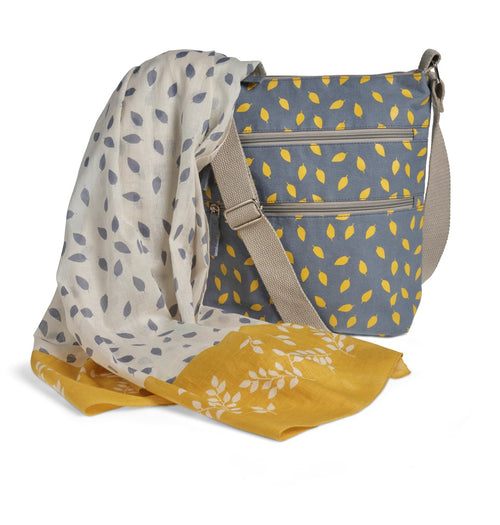 Bag Traws-Gorff Cotwm Organig | Leaves Organic Cotton Cross Body Bag