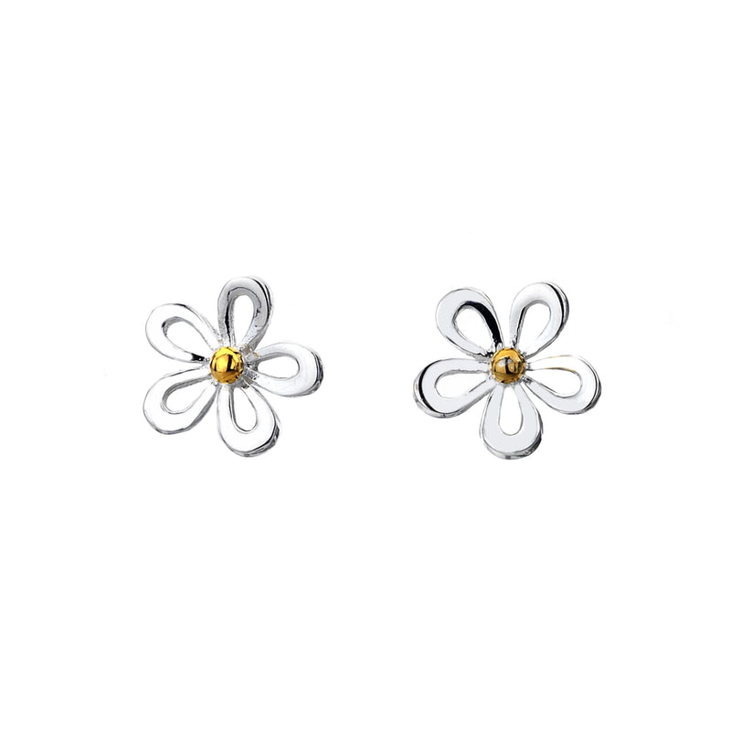 Clustdlysau Styd Blodyn Arian | Daisy Cut Out Silver & Brass Stud Earrings