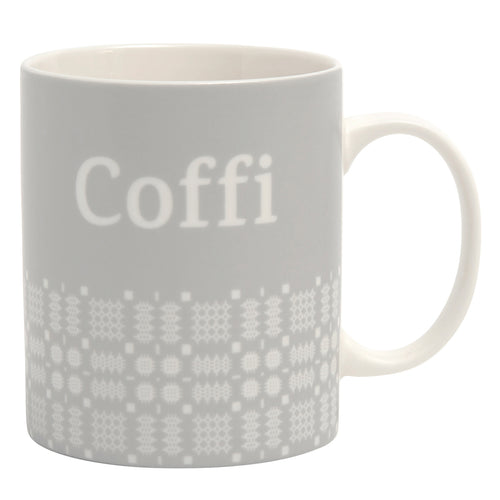 Mwg Coffi Brethyn | Coffi Mug With Welsh Cloth Pattern
