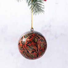 "Load image into Gallery viewer, 3"" Red and Black Chinar Leaf Christmas Bauble"