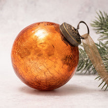 "Load image into Gallery viewer, 3"" Large Tangerine Crackle Glass Ball"