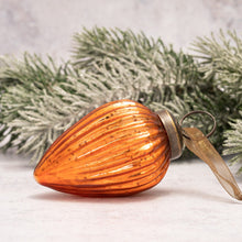 "Load image into Gallery viewer, 2"" Medium Tangerine Ribbed Glass Pinecone"