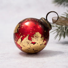 "Load image into Gallery viewer, 2"" Medium Red With Gold Foil Glass Ball"