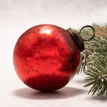 "Load image into Gallery viewer, 3"" Large Red Crackle Glass Christmas Bauble"
