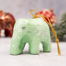Load image into Gallery viewer, Mint Snowflake Hanging Elephant