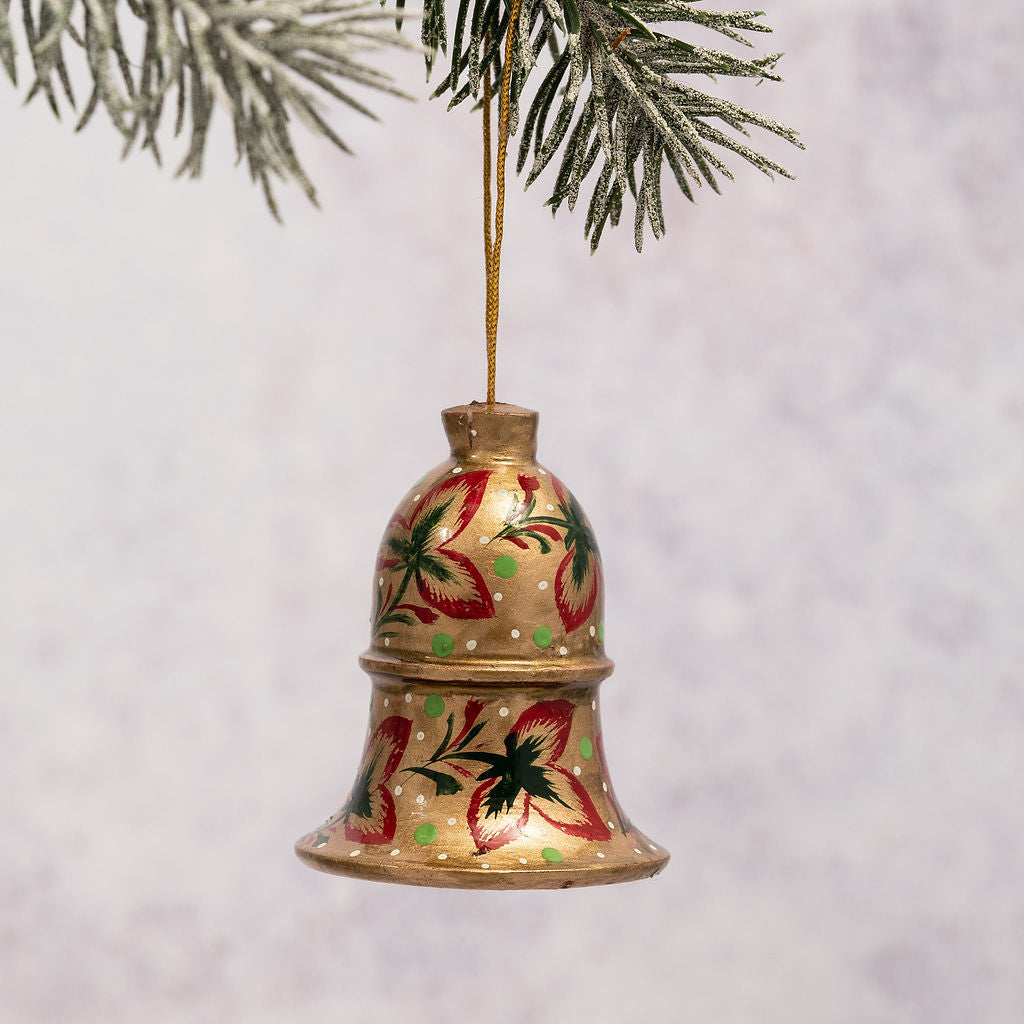 Gold with Red Tri Leaf Hanging Bell