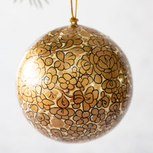 "Load image into Gallery viewer, 3"" Gold & White Floral Christmas Bauble"
