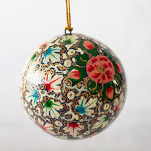 "Load image into Gallery viewer, 3"" Turquoise & Pink Floral Christmas Bauble"