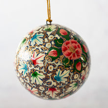 "Load image into Gallery viewer, 2"" Turquoise & Pink Floral Christmas Bauble"