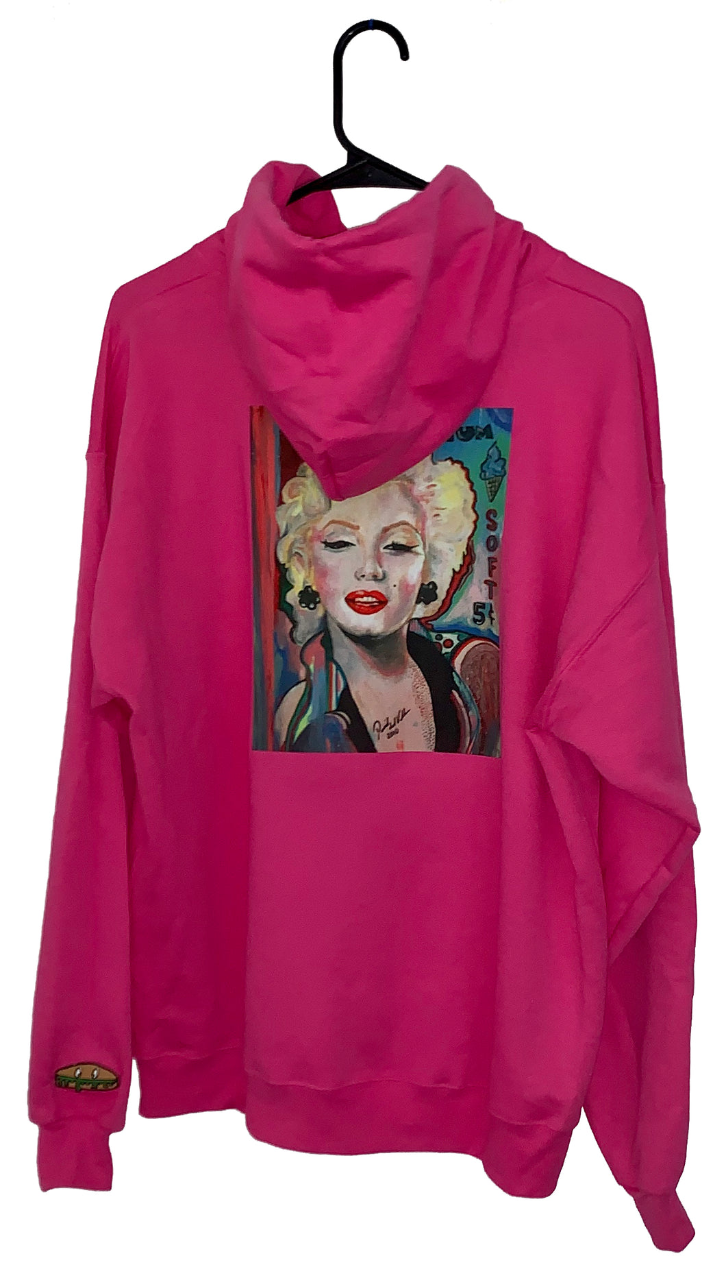 Kandykorn X Slimyburger -Hot Pink or Purple Haze Hoodie W/ Marilyn Monroe on backside, Ribbed Cuffs & Waist Band Sizes (S-XL) 1950s Fashion