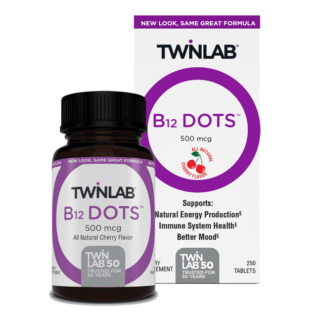 Grab our delicious cherry-flavored, 250 Count, B-12 Dots™ with 500mcg, specially formulated to promote immunity & natural energy production.