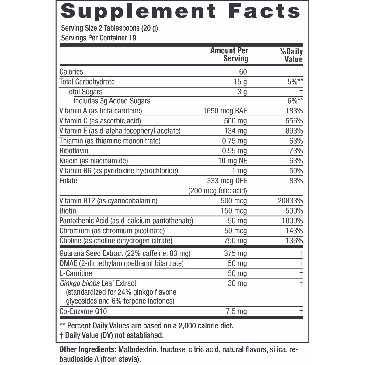 Supplement facts for Twinlab Choline Cocktail