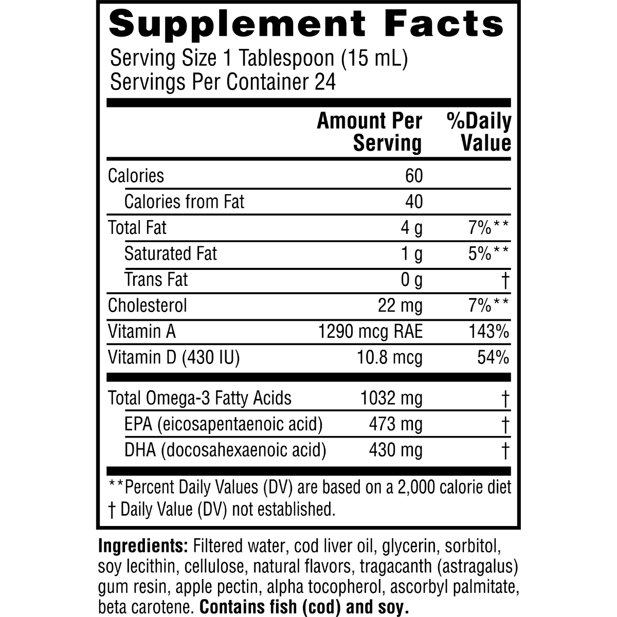Supplement facts for Twinlab Emulsified Cod Liver Oil