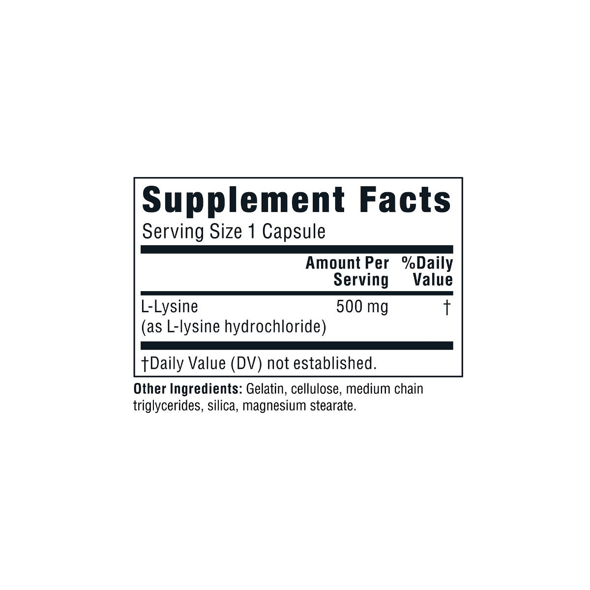 Supplement facts for Twinlab L-Lysine