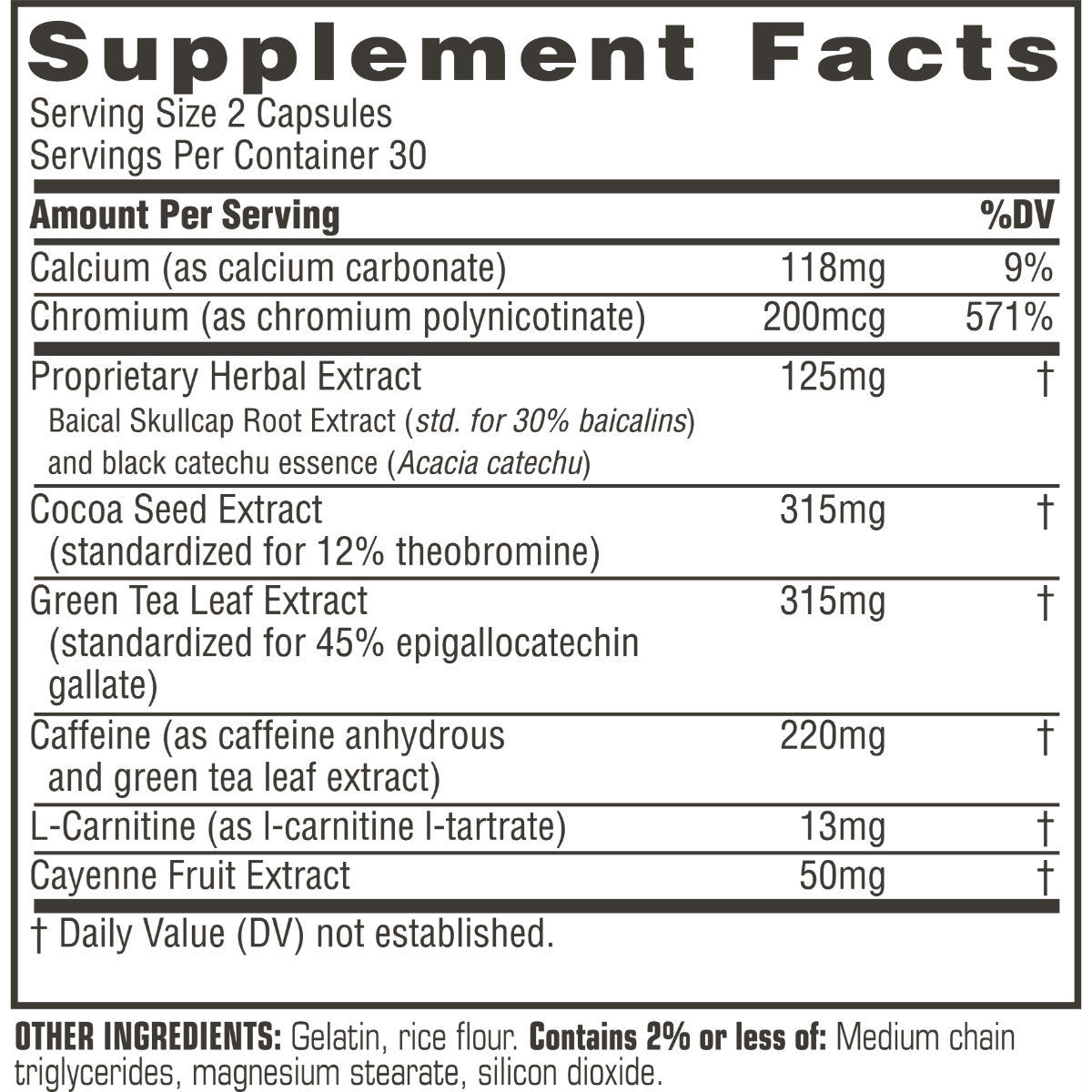 Supplement facts for Twinlab Ripped Fuel Extreme
