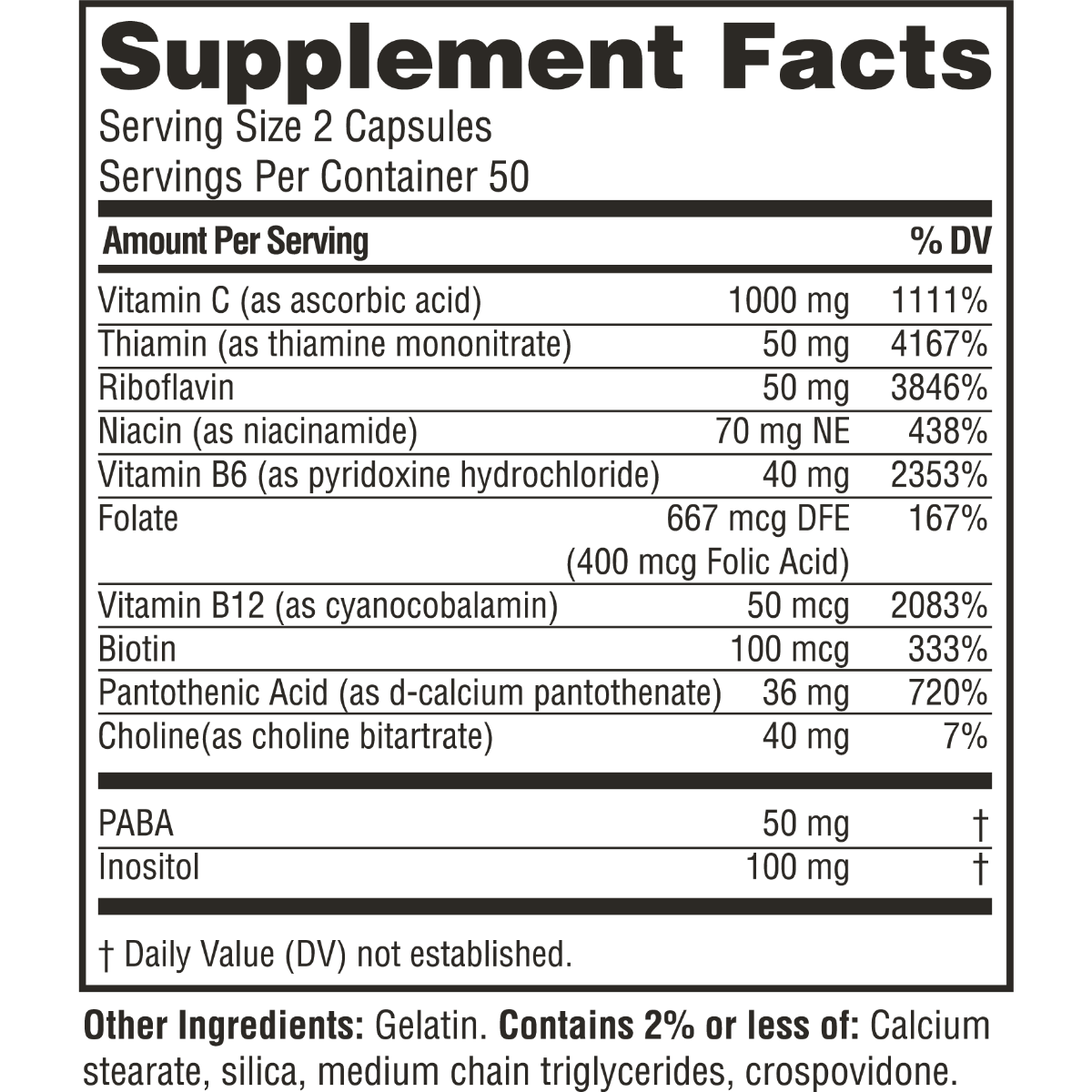 Supplement facts for Twinlab Stress B-Complex Caps