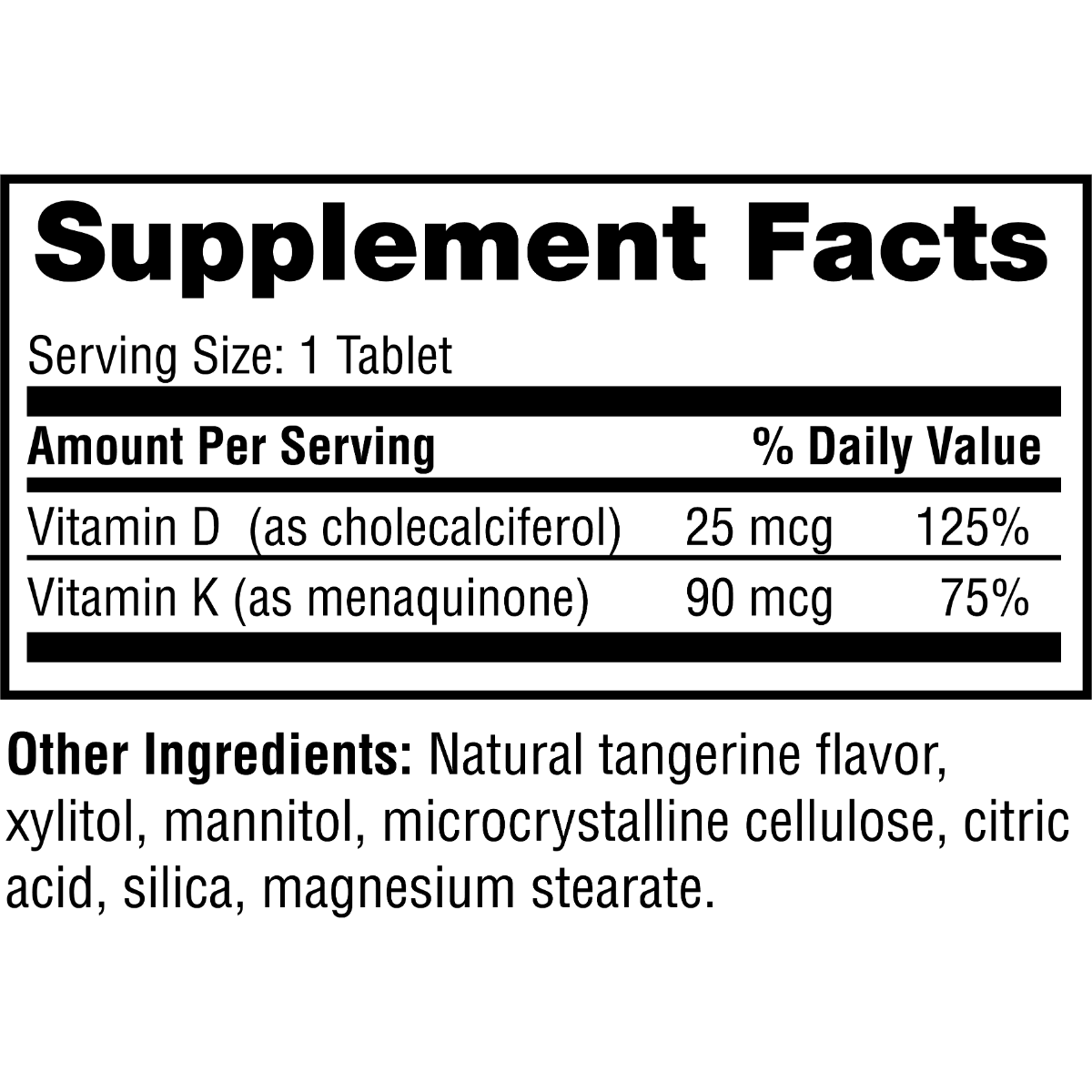 Supplement facts for Twinlab Vitamin D3 1000 + K2 Dots