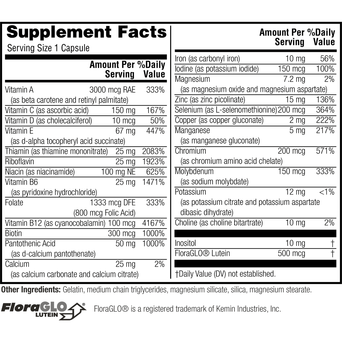 Supplement facts for Twinlab Daily One Caps with Iron