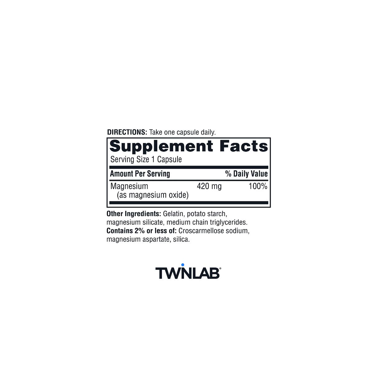 Supplement facts for Twinlab® Magnesium Caps.