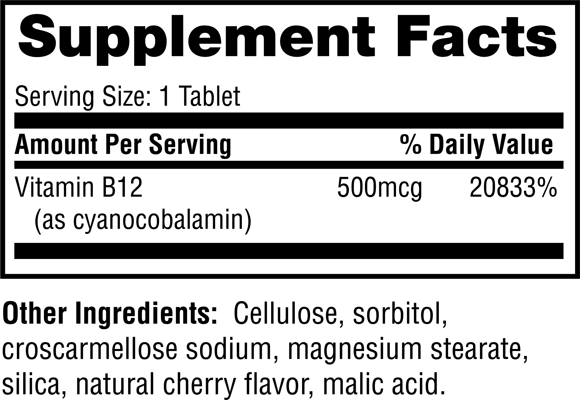 Supplement facts for B-12 Dots™ with 500mcg