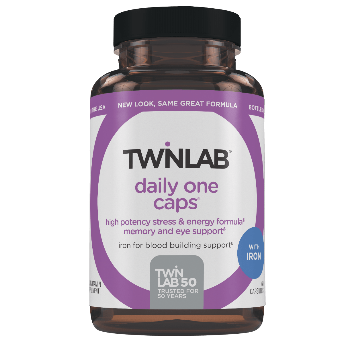 60 count Twinlab® Daily One Caps with Iron contain a blend of 26 nutrients with extra folic acid to support heart & eye health.