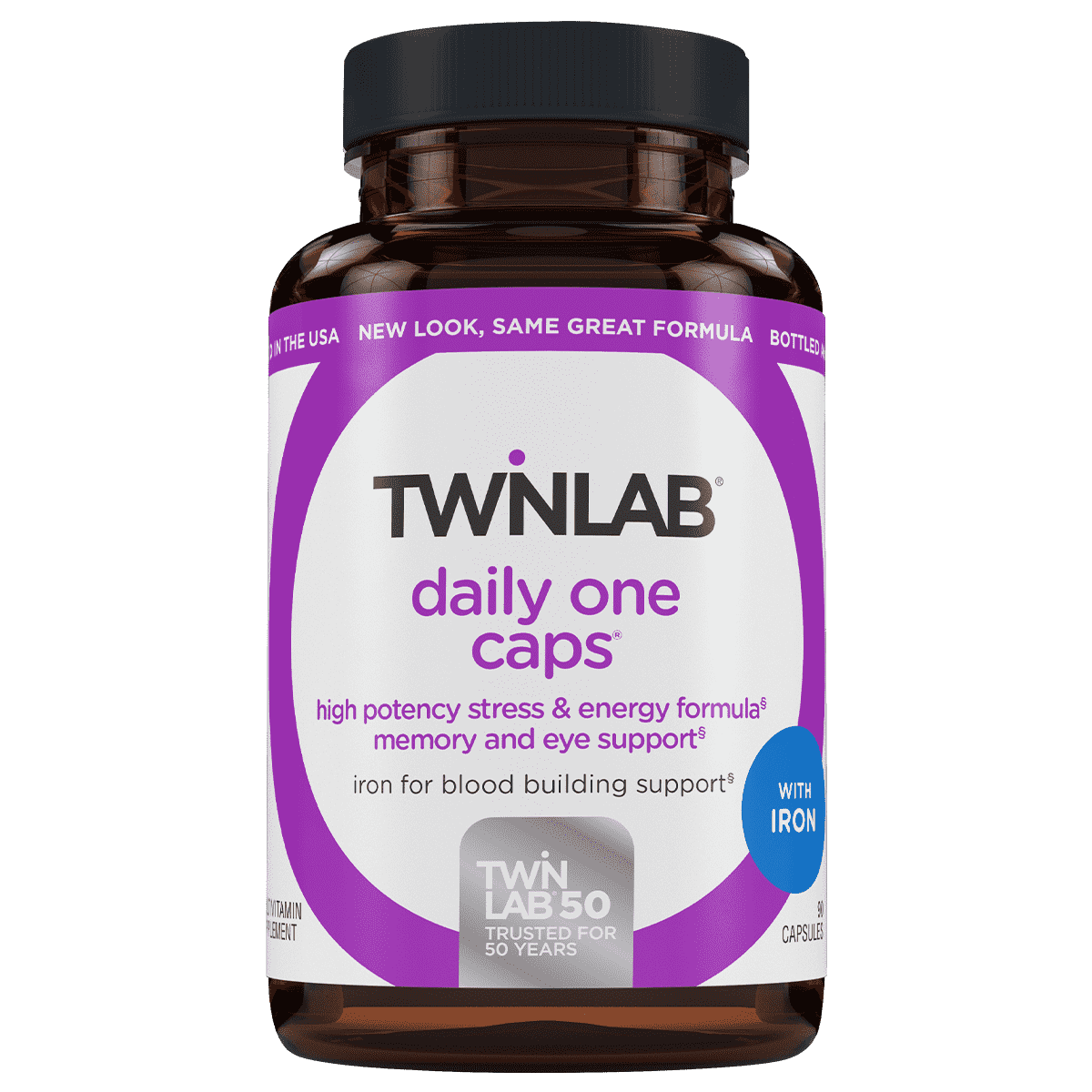 90 count Twinlab® Daily One Caps with Iron contain a blend of 26 nutrients with extra folic acid to support heart & eye health.