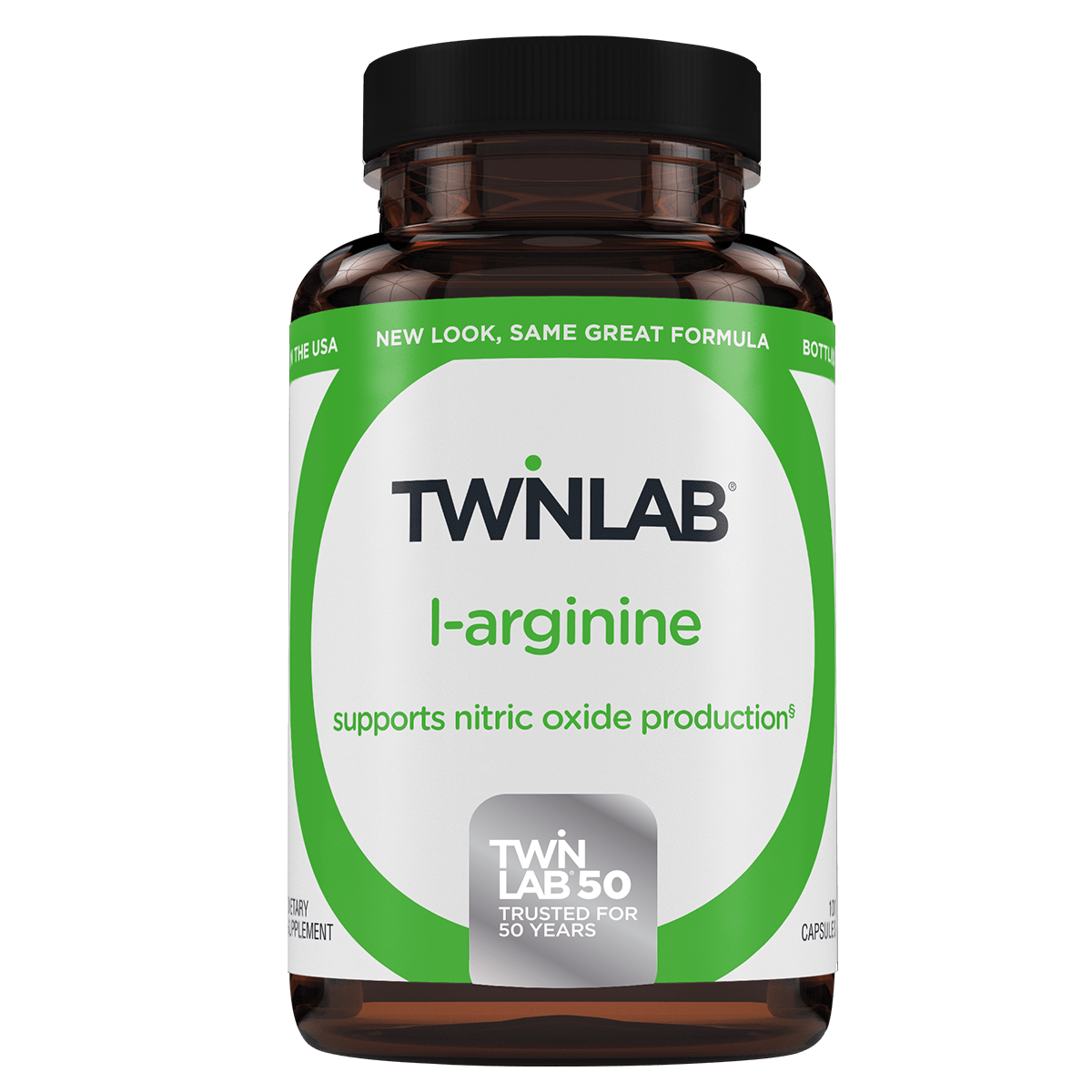 Twinlab's L-Arginine 500mg capsules are easy to swallow & a source of free-form amino acid.