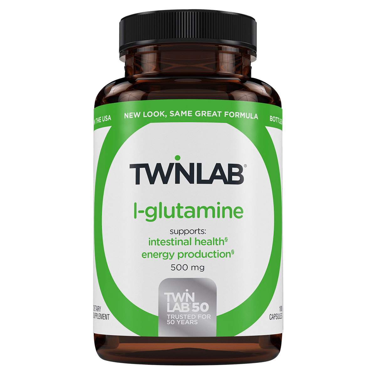 Twinlab L-Glutamine delivers 500 mg of the free form amino acid l-glutamine that supports intestinal health and energy production.