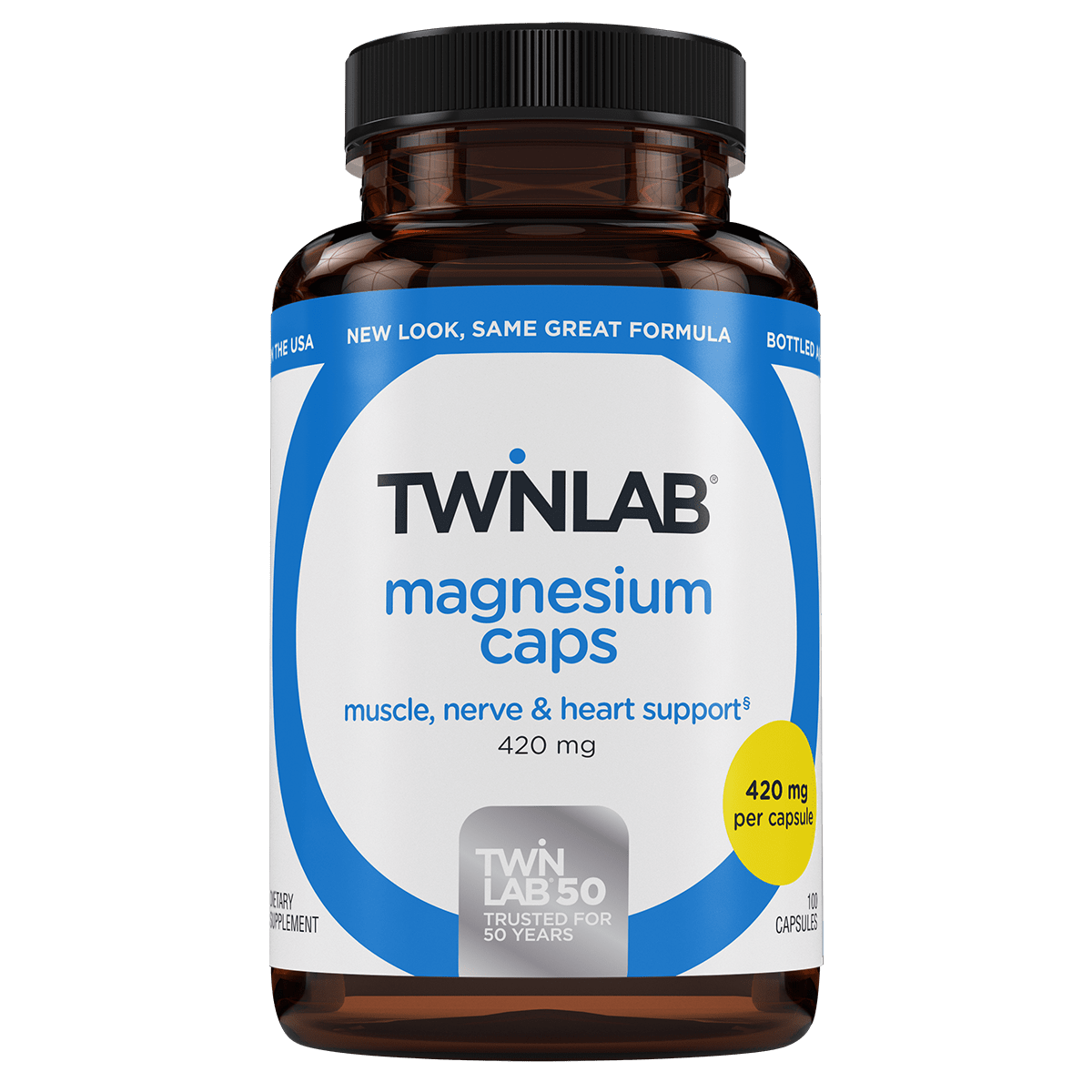 Take your daily dose of 420 mg magnesium with just one capsule of Twinlab® Magnesium Caps 100 Count