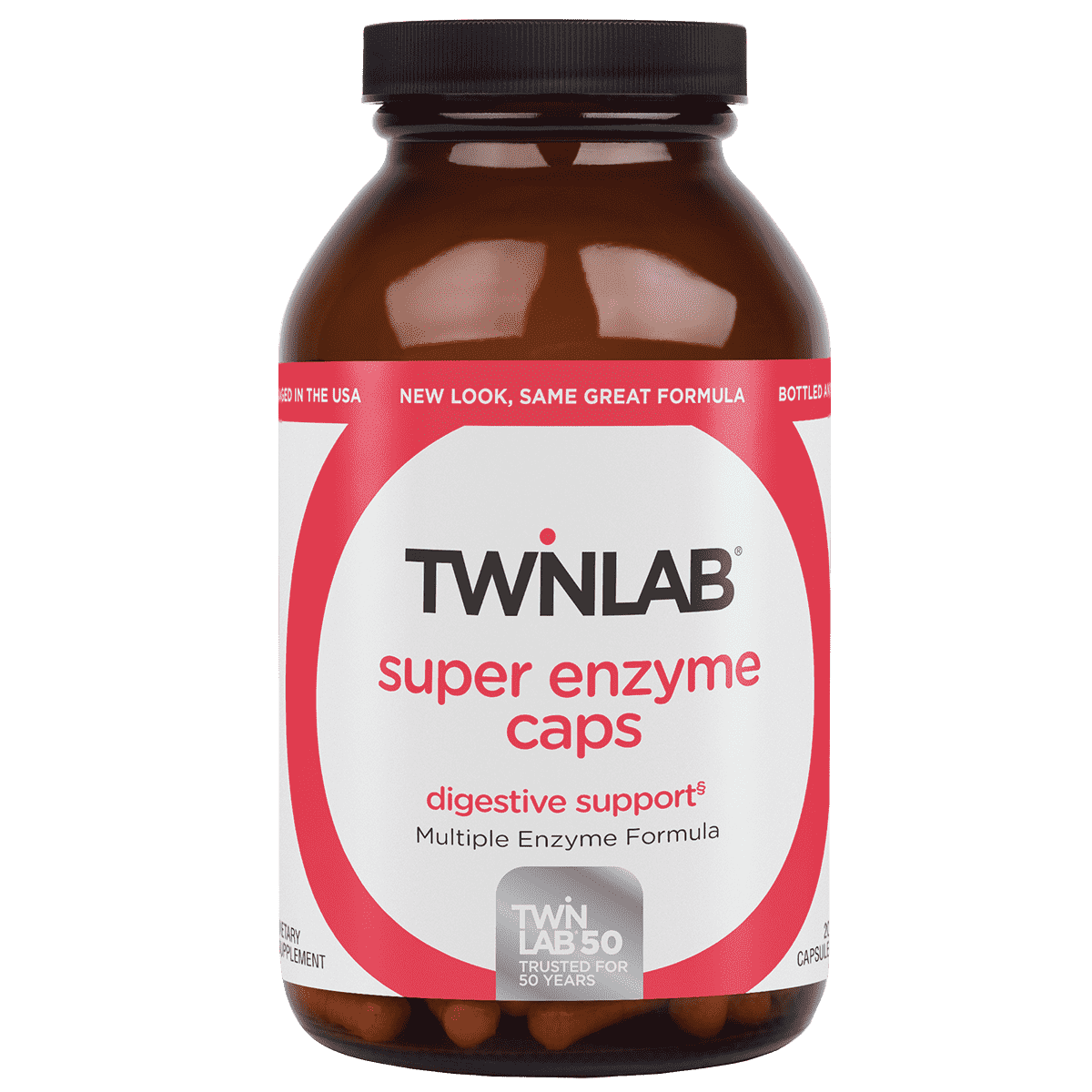 Twinlab® Super Enzyme Caps 200 Count have a selected blend of multi-enzymes that supports intestinal health and digestion