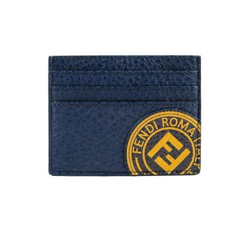 Fendi Signature Calf Leather Navy Card Case w yellow Fendi stamp and FF Logo