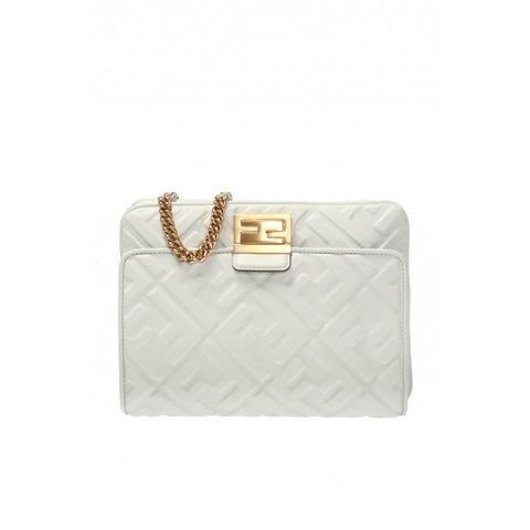 Fendi White Upside Down F Logo Embossed Leather Crossbody Belt Bag