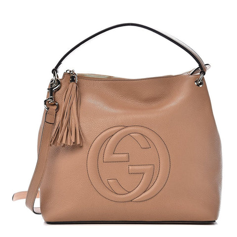 Gucci Camelia Beige Leather Large GG Logo Soho Handbag
