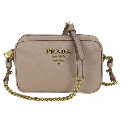 Prada Bandoliera Cipria Beige Saffiano Leather Crossbody Handbag