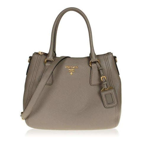 Prada Vitello Phenix Leather Convertible Zip Bag Argilla Grey