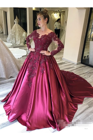 Prom Dress With Long Sleeves And Floral Embroidery Burgundy Colored Court STCPJ8SLMB9