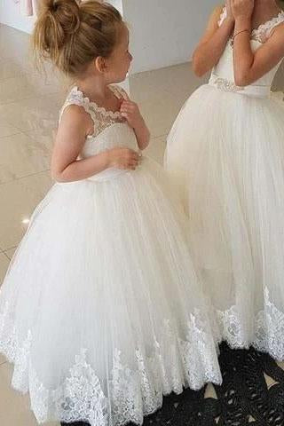 Princess Ivory Flower Girl Dresses with Lace Appliques, Cute Little Girl Dress STC15590
