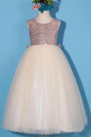 Princess Gold Sequin Shiny Round Neck Flower Girl Dresses with Bowknot, Baby Dresses STC15589