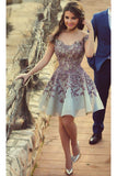2021 Homecoming Dresses A Line Scoop Short/Mini With