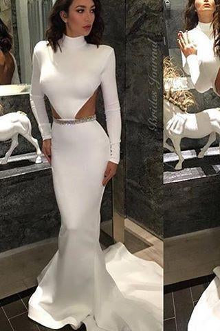 White High Neck Mermaid Long Sleeve Hollow Waist Backless Saudi Arabia Prom Dresses