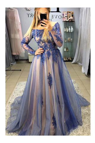 A-Line Long Sleeves Sweep Train Prom Dresses With STCPB3SD2T7