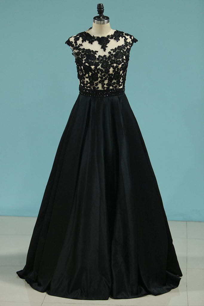 2021 A Line Scoop Satin With Applique And Beads Prom