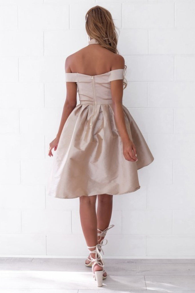 2021 Cocktail Dresses A Line Off The Shoulder Taffeta