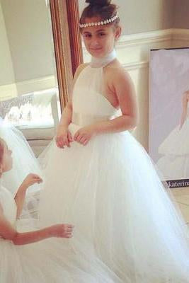 Halter Cute Tulle Fluffy Backless White Flower Girl Dresses with Belt Baby Dresses