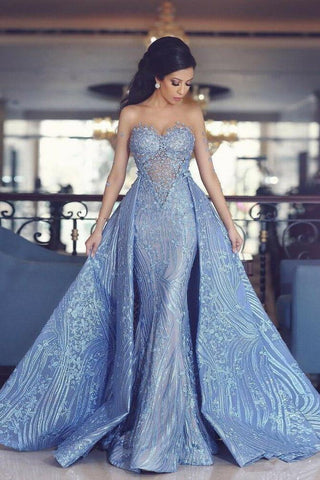 Elegant Blue Long Sleeve Mermaid Appliques Long Prom Dresses, Party Dresses STC15161