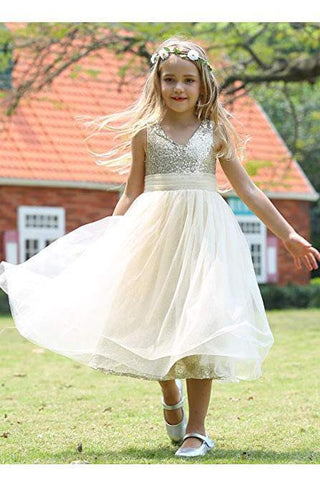 Cute Sweetheart Sequins Empire Tulle Straps Flower Girl Dresses Child Dresses